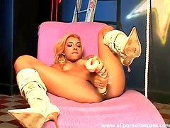 Huge dildo slowly works into her pussy
