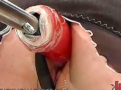 Cute Teen in Lingerie Gets Her Wet Pussy Fucked by a Machine