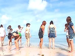 Awesome POV Blowjob Action at the Beach with a Bunch of Asian Babes