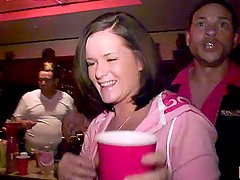 Horny Brunette Gives a Deepthroat Blowjob at a Party
