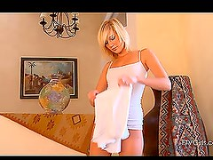Skinny Blonde Girl Changing Clothes to Show Her Tits and Shaved Pussy