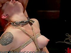 A Bit Of Pleasure For A Wet Redhead In Bondage Scene