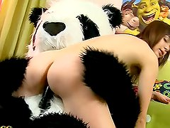 Brunette Teen Plays with a Huge Dildo and Her Panda Bear Toy Cock