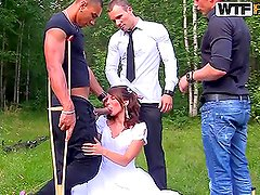 Interracial Outdoors Gangbang For Hot Newlywed Bride