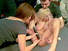Sexy Busty Blonde Babe Abused in a Pool Hall