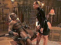 Horny Blonde Mistress in Latex will Teach You a Lesson