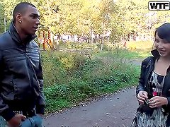Horny teen brunette goes for a Fuck in the Forest