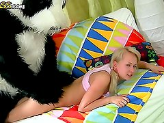 Sexy Teen Blonde gets in a Pillow Fight and Sex play