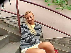 stonishing Blonde Teen Shows Her Natural Tits And Shaved Pussy In Public
