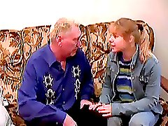 Innocent Blonde Teen Sucks and Fucks an Old Man's Cock On a Couch