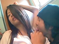 Fondling and Licking an Asian Babe's Boobs In A Public Restroom