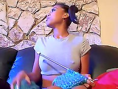 Hot Pigtailed Ebony Hottie Is Fucked By A Very Stiff Cock