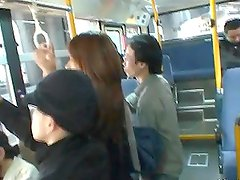 Upskirt Look of An Asian School Girl's Panties In Bus