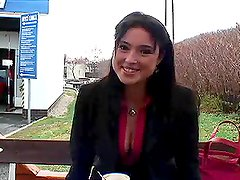 Sexy brunette Lets Camera Man Feel her Breasts In Public