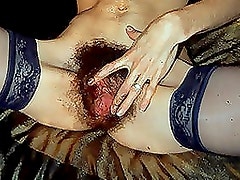 Hairy Pussy Masturbating With A Big Dildo