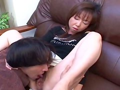 Brown head Japanese wench Rei Teshigawara gets her hairy cunt licked on a casting