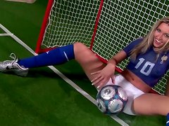 Sexy blonde babe acts like a horny goalkeeper Cherry