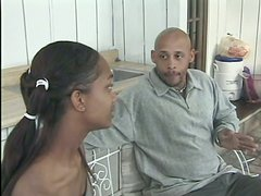 Skinny ebony teen is pleasing a mature black dude in the kitchen