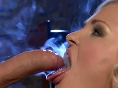 Naughty blonde temptress Nicky Angel gives head and rides on top