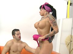 Ugly tatted bitch deepthroats a massive dick and rides it on top