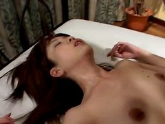 Perverted Japanese slut enjoys rides one cock and sucks the other