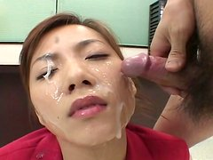 Kinky Asian chick Bukkake Best sucks a cock and gets cum on her face