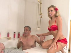 Full figured beauty Athena Angel has a threesome in bathroom
