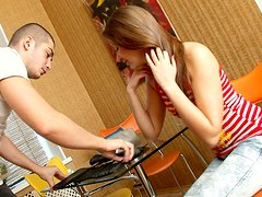 Kinky teen bitch Stasia sucks her lover's dick in a kitchen and gets nailed from behind