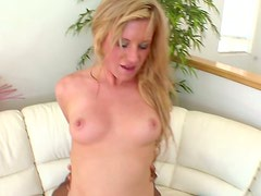 Blonde chick Jessica Heart fucks a hairy black dude