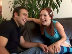 Cute redhead babe Cameron Love seduces brunette guy for a quickie