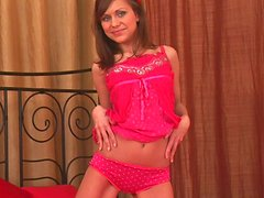 Sweet teen with hairy pussy Emmy uses a dildo for pleasing her wet pussy