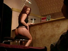 Seductive babe Angel Rivas picks up a guy in a bar and fucks him right there