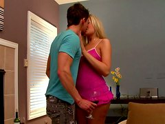 Handsome Johnny Torque thrusts Darcy Tyler's tiny mouth