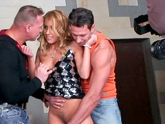 Disgraceful whore Nikky Thorne gets fucked by two dudes