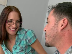 Nerdy brunette cutie gets her fresh soaking pussy eaten