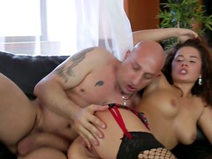 Brutal macho penetrates tight asshole of hot brunette Amandae