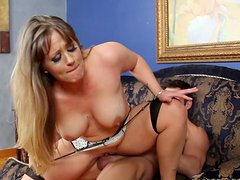 Chubby blonde cutie Holly Heart rides dick and then fucks doggy style