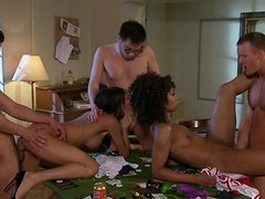 Groupsex with Alektra Blue and Misty Stone on the poker table