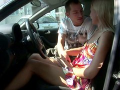 Wild blonde chick Betsy suck and fucks the car owner