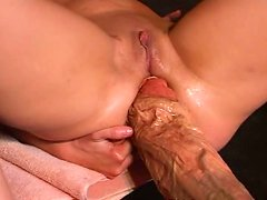 Pies - Gigantic two foot long dildo destroys hot brunette's pussy