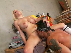 Honey girl with charming eyes Haley Cummings gives blowjob
