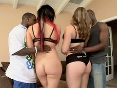Two pale chicks Isis Ray & Kiara Marie tease black dudes