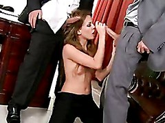 Exquisite Hottie Honey Winter Alternately Blows Two Hard Cocks
