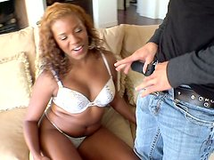 Sydnee Capri put her  thongs aside and flashes her coal pussy