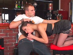 Wild brunette gold digger Ennessi blows dick of Nick in the bar
