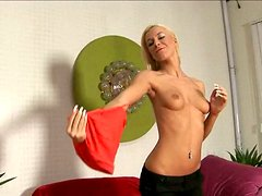 Long legged model Angelina Love tries on her new dress and masturbates on a couch