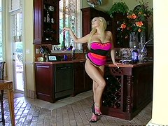 Gorgeous busty blondie Shyla Stylez sucks a strong cock delightfully