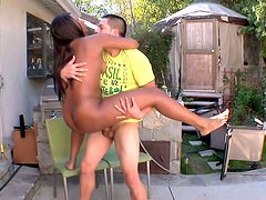 Rane opens her balloons and gets her pussy doggyfucked hard