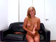 Playful whore Kennedy Leigh sucks the dildo and pokes her pussy with it
