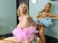 Busty ballerinas Brooke Banner & McKenzee Miles play with big cock
